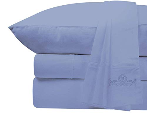 Medium Blue Egyptian Cotton Sheets Queen Size 800 TC Best 100% Cotton Sheets Queen Size - Extra Long-Staple Cotton Queen Sheet for Bed, Fits Mattress Upto 18'' Deep Pocket, Breathable & Sateen Weave