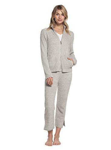 Barefoot Dreams CozyChic Lite Women's Heather Zip-Front Jacket, Comfortable Zipper Sweater, Travel Sweatshirt, Pewter-Pearl, Medium