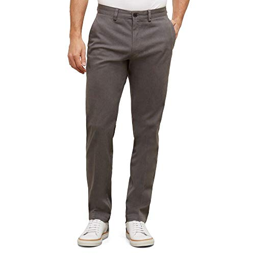 Kenneth Cole REACTION Men's Solid Stretch Eco Chino Flat Front Slim Fit Casual Pant, Charcoal Heather, 36x30
