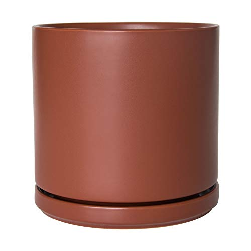 Ceramic Planter Pot with Drainage Hole and Saucer, Indoor Cylinder Round Planter Pot, 10 Inch, Pottery Red Terracotta