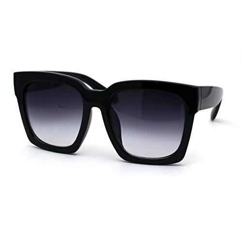 Womens Boyfriend Style Oversize Horned Rim Thick Plastic Sunglasses (black gradient black, 54)