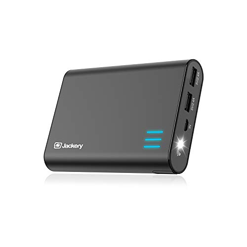 Jackery Portable Charger Giant+ 12000mAh Power Outdoors Dual USB Output Battery Pack Travel Backup Power Bank with Emergency LED Flashlight for iPhone, Samsung and Other Smart Devices - Black