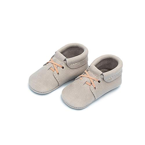 Freshly Picked - Rubber Mini Sole Leather Oxford Moccasins - Toddler Girl Boy Shoes - Size 6 Salt Flats Gray