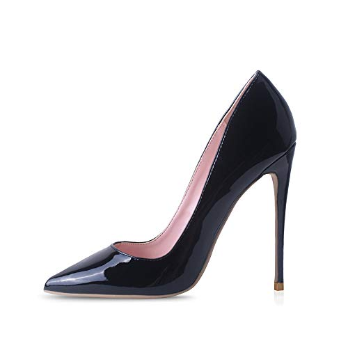 Elisabet Tang High Heels, Womens Pointed Toe Slip on Stilettos Party Wedding Pumps Basic Shoes BK 10 Black