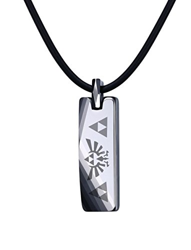 Mealguet Jewelry Tungsten Carbide Polished Vertical Bar Legend of Zelda Triforce Pendant Necklace with Black Cord