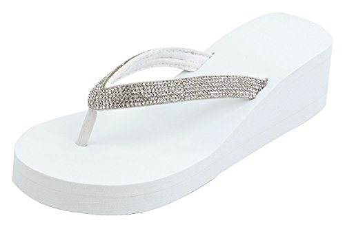 TravelNut Best Bling Women's Size 11 Wedge Fall Flip Flops Dressy Shoes Sandals Platform Wedge 2' Heels Rhinestone Slipon T-Strap Flipflops for Women Ladies Teen Girls (White Size 11)