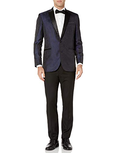 Kenneth Cole REACTION Men's Techni-Cole Slim Fit Stretch Tuxedo, Blue Brocade, 42 Short
