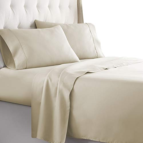 HC Collection Queen Bed Sheets Set - Bedding Sheets & Pillowcases w/ 16 inch Deep Pockets - Fade Resistant & Machine Washable - 4-Piece 1800 Series Queen Size Sheet Sets – Cream