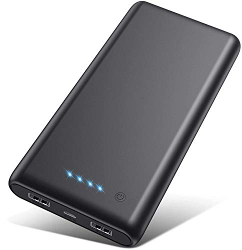 Portable Charger 26800mAh【2020 Upgrade High Capacity】Power Bank Ultra Compact External Battery Pack Backup with 4 LED Lights,Dual USB Ports High-Speed Charging for Cell Phones, Tablet and More (Black)