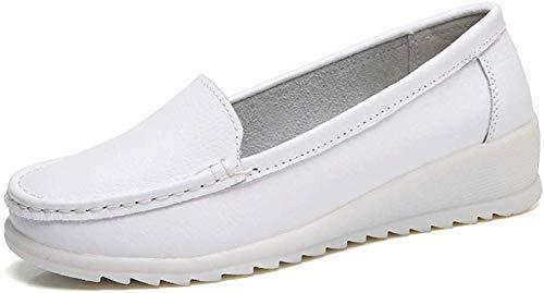 ZYEN Women's All White Nursing Shoes Comfortable Slip On Nurse Work Wedge Leather Loafers White 8.5 B(M) US 6616baise40