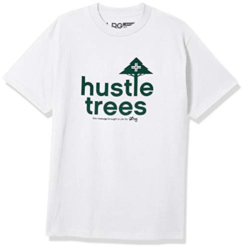 Hustle Trees Men's T-Shirt, White/Green, X-Large
