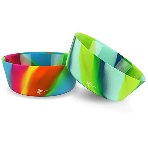 Silipint Silicone Bowl Set, U.S. Patented, Unbreakable, Flexible, Microwave Safe, Oven Safe, BBQ Safe, Indoor and Outdoor Use (2-Pack Hippy Hop, Sea Swirl)