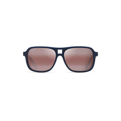 Maui Jim Little Maks w/ Patented PolarizedPlus2 Lenses Polarized Aviator Sunglasses, Matte Blue/Maui Rose Polarized, Large