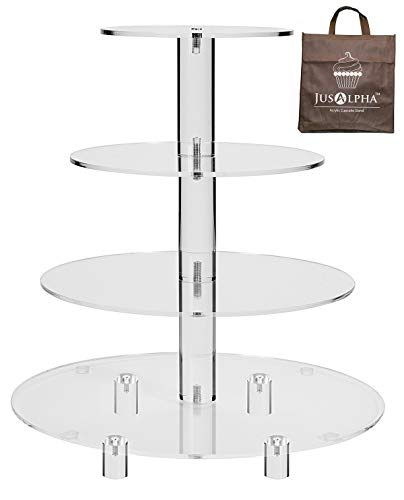 Jusalpha Large 4 Tier Acrylic Glass Round Cake Stand-cupcake Stand- Dessert Stand-Tea Party Serving Platter-Candy Bar Party Décor, With Rod Feet (4RF)