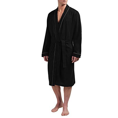 HOLOVE Men Cotton Bathrobe Knit Lightweight Robe Spa Comfy Robe (Black S//M)
