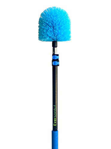 EVERSPROUT 5-to-13 Foot Cobweb Duster and Extension-Pole Combo (20 Foot Reach, Soft Bristles) | Hand Packaged | Lightweight, 3-Stage Aluminum Pole | Indoor & Outdoor Use Brush Attachment
