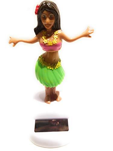 Solar Powered Dancing Hula Girl - Green Skirt, Pink Top by Greenbrier