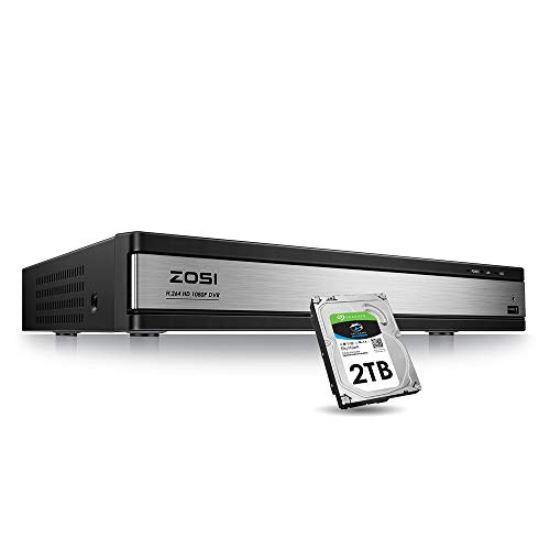 ZOSI 16CH 1080P DVR Video Surveillance Recorder with 2TB Hard Drive - 4-in-1 Supports HD-TVI, CVI CVBS AHD 960H Security Cameras, Remote Viewing, Motion Detection