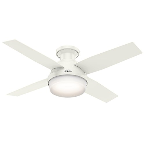 Hunter Dempsey Indoor Low Profile Ceiling Fan with LED Light and Remote Control, 44', White