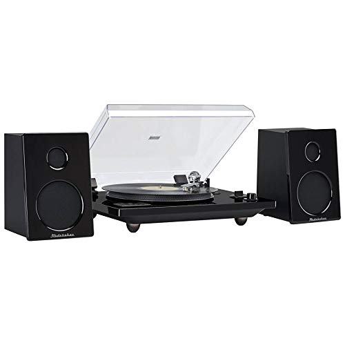 Studebaker Hi-Fi Record Player Turntable with Audio Technica (AT) Magnetic Cartridge Home Music System 30 Watt RMS Powered Speakers Bluetooth for External Devices USB Recording Turn Old Records to MP3