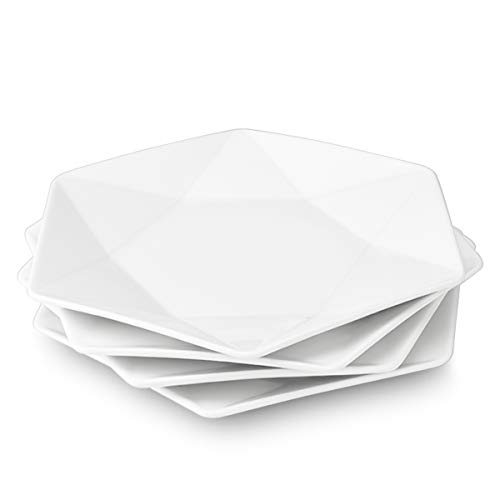 "Delling Star-Geometric 11""White Dinner Plates, Large Serving Platters Dessert Salad Plates for Meat, Appetizers, Dessert, Sushi, Party,Set of 4"