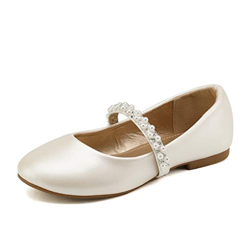 DREAM PAIRS Big Kid Serena-100-Ivory Girl's Mary Jane Ballerina Flat Shoes Size 4 M US Big Kid