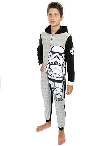 LEGO Star Wars Stormtrooper Boys Fleece Hooded Union Suit Pajamas (10-12, Grey/Black)