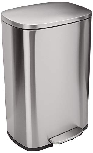 AmazonBasics Rectanglular, Stainless Steel, Soft-Close, Step Trash Can, 50 Liter /13.2 Gallon, Satin Nickel