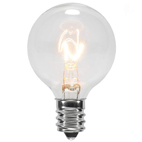 25 Pack Clear G40 Globe Light Bulbs for Patio String Lights Fits E12 and C7 Base 5 Watt 1.5 Inch Dimmable Light Bulbs G40 Replacement Bulbs for Patio Lights