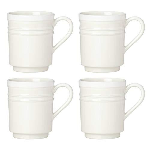 Kate Spade New York Sculpted Stripe Cream Mugs, Set of 4