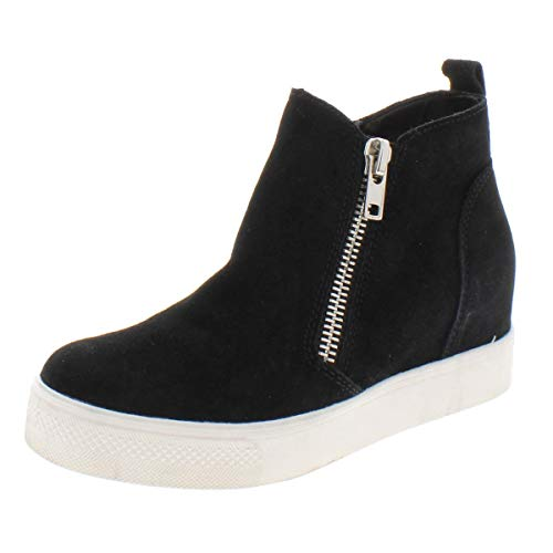 Steve Madden Women's Wedgie Sneaker, Black Suede, 7.5 M US