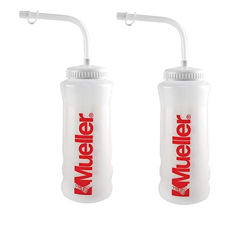 Mueller Quart Bottle w/ Straw, Natural Color w/ Red Letters