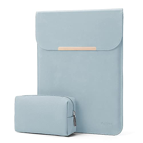 KALIDI 13.3 inch Laptop Sleeve Case Faux Suede Leather for MacBook Air Pro Retina 2016-2020, for 13'-13.5' Surface Pro 5 6 7 with Pouch (for 13.3 inches MacBook / Pro / Air, Sky Blue)