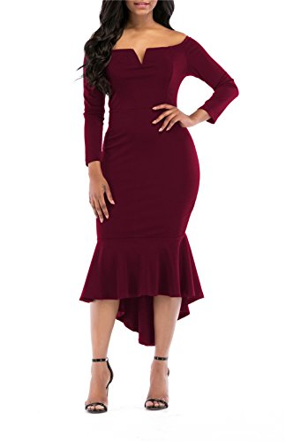 onlypuff Mermaid Dress for Women V-Neck Long Sleeve Gown Dress Off The Shoulder Wine Red M