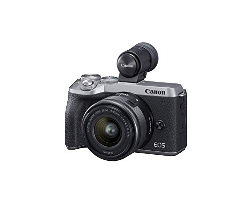 Canon EOS M6 Mark II Mirrorless Digital Compact Camera + EF-M 15-45mm F/3.5-6.3 IS STM + EVF Kit, Silver