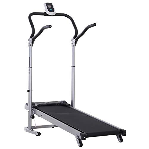 Soozier 2-in-1 Folding Walking Manual Treadmill Machine Sit Up Bench Running with LCD Screen Home Exercise Fitness