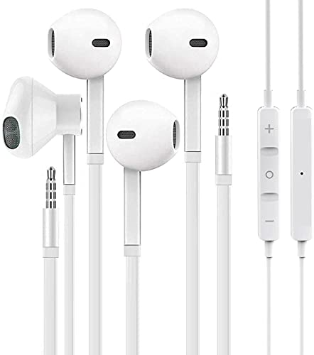 【2 Pack】 ZDAGO Aux Earbuds/Earphones, 3.5mm Wired Headphones Noise Isolating Earphones Volume Control & Built-in Microphone Compatible with iPhone/Android/MP3/MP4/Pad.
