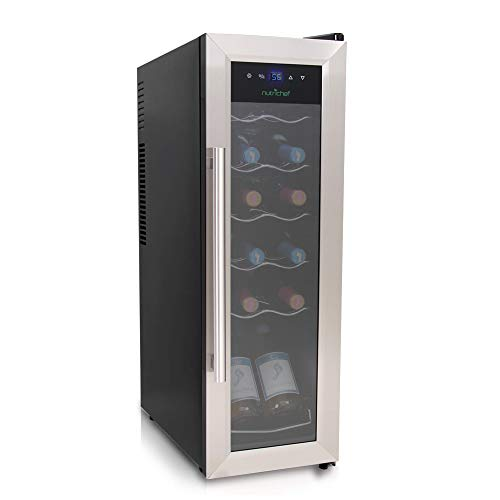 12 Bottle Wine Cooler Refrigerator - White Red Wine Fridge Chiller Countertop Wine Cooler - Freestanding Compact Mini Wine Fridge 12 Bottle w/Digital Control, Stainless Steel Door - NutriChef PKCWC12