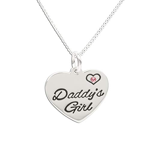 Children's Sterling Silver Daddy's Girl Charm Necklace, 14'