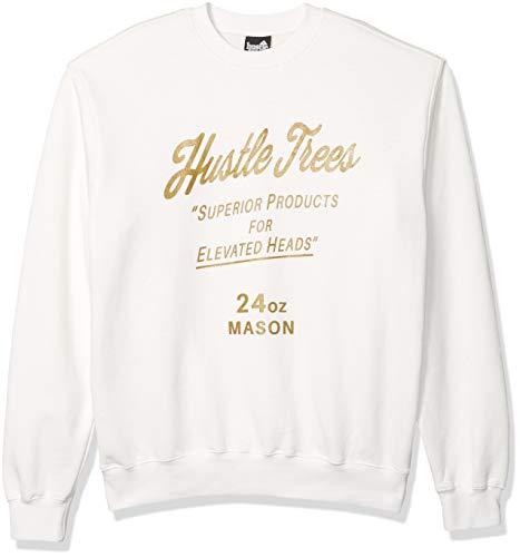 Hustle Trees Men's Anthny Mason Crew Neck Sweatshirt, White, 2XL
