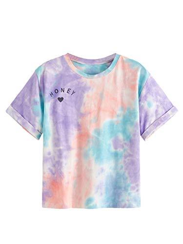 SweatyRocks Women's Tie Dye T-Shirt Rolled Short Sleeve Crop Tops (Medium, Multicolor)