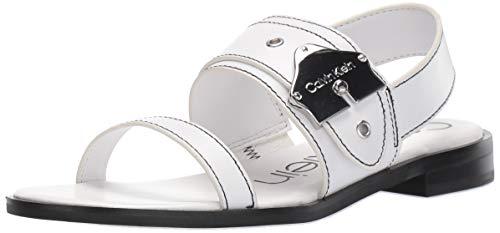 Calvin Klein Women's Telisha Flat Sandal, White Leather, 7.5 M US