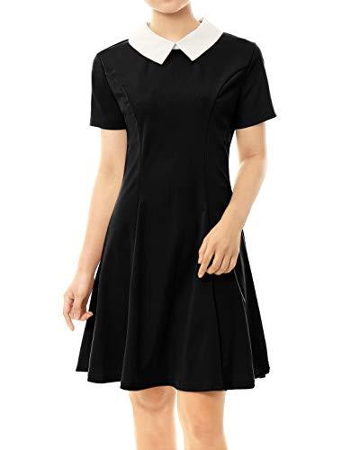 Allegra K Women's Peter Pan Collar Hidden Zipper Back Flare Dress M Black
