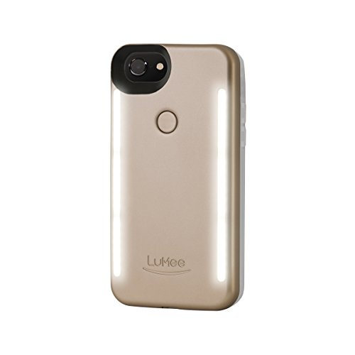 LuMee Duo Phone Case, Gold Matte | Front & Back LED Lighting, Variable Dimmer | Shock Absorption, Bumper Case, Selfie Phone Case | iPhone 8 / iPhone 7 / iPhone 6s / iPhone 6 (LD-IP7-GOLDMT)