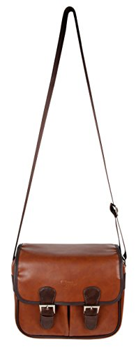 DURAGADGET Brown PU Vintage Brown Leather Satchel Carry Bag for Gaosa Portable Speaker 10261559