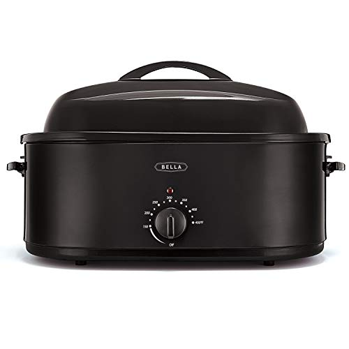 BELLA 24-Pound Turkey Roaster with Variable Temperature Control & Removeable Pan & Rack, Black