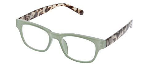 Peepers by PeeperSpecs Women's Vintage Vibes Focus Rectangular Blue Light Filtering Reading Glasses, Green/Gray Tortoise, 49 mm + 1.25