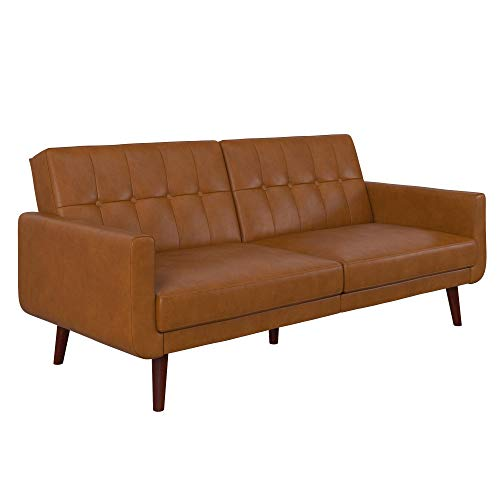 DHP Nia Upholstered Modern, Adjustable Sofa Bed and Couch, Camel Faux Leather Futon