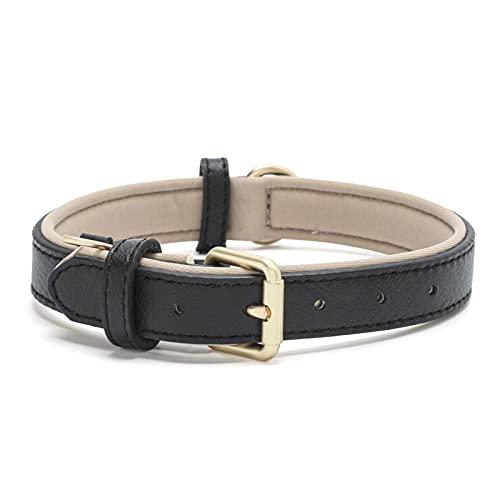 Tanpie Genuine Leather Dog Collar for Large Medium Small Dogs Classic Soft Breathable Waterproof Collars Black Medium