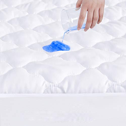 Full Size Mattress Protector Waterproof, Breathable & Noiseless Full Mattress Pad Cover Quilted Fitted with Deep Pocket up to 14' Depth (54'x 75')